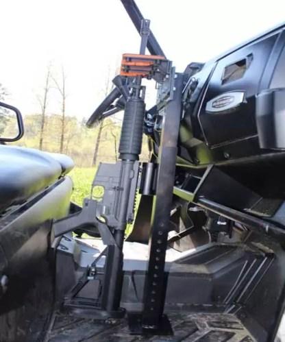 525UF Double 300 Over Under Universal Floor Mount Gun Rack with Rubber Butt