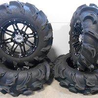 "STI HD3 14"" Wheels Black 28"" Mega Mayhem Tires Kawasaki Teryx Mule"