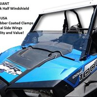 """Polaris RZR XP 1000 Half Windshield - 1/4"""" Thick, Black Clamps, Side Wings, Fits 2 Door and 4 Door"""
