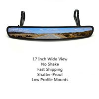 17 Inch Wider and Bigger UTV Rear View Mirror with Shatter-Proof Tempered Glass Mirror for Polaris RZR Can am Maverick with Pair of 1.75 Inch
