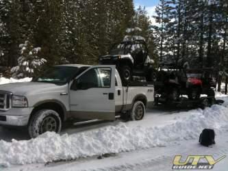 Truck rack plus trailer can haul three UTVs