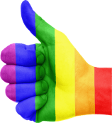 Rainbow hand with thumbs up.