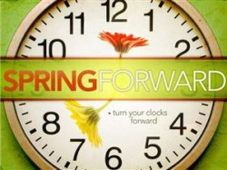 Spring Forward clock with flowers