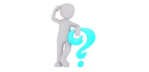 Graphic of a simple human figure leaning on a big question mark