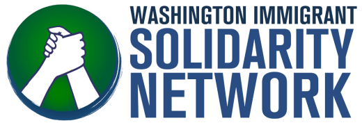 Washington Immigrant Solidarity Network and circle with two clasped hands