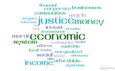 Word cloud: justice, economic, work, invest, income...