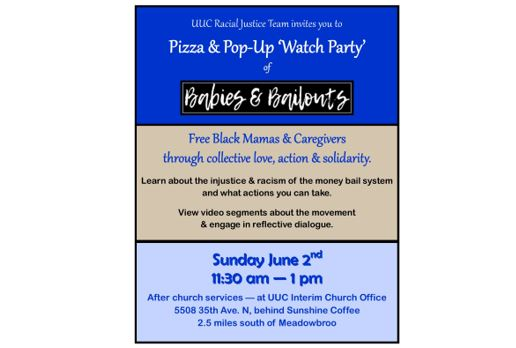 Flyer for Babies & Bailouts Pizza and Watch Party, Sunday, June 2, 11:30 a.m. - 1 p.m.