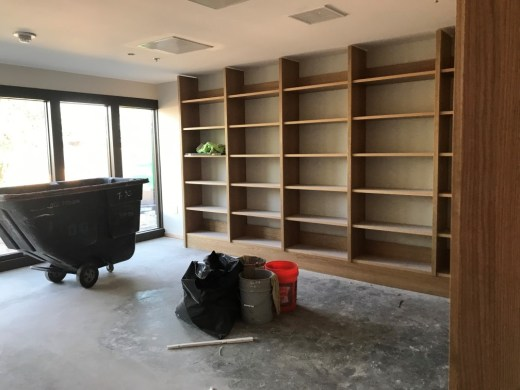 Shelves in Dix living room, August 2019