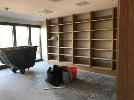 Shelves in Dix living room as of August 2019
