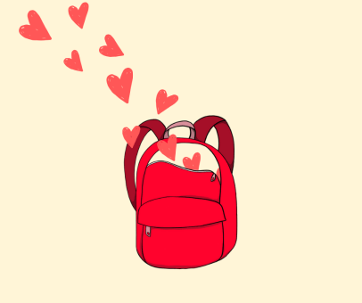 Hearts tumbling into a red backpack