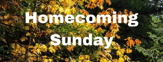 Homecoming Sunday, with a background of fall leaves