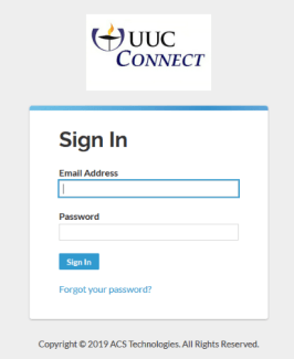 UUC Connect Sign In page