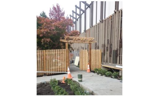 New entrance gate and arbor for the UUC Memorial Garden