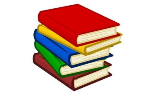 Stack of books, each with a different colored cover