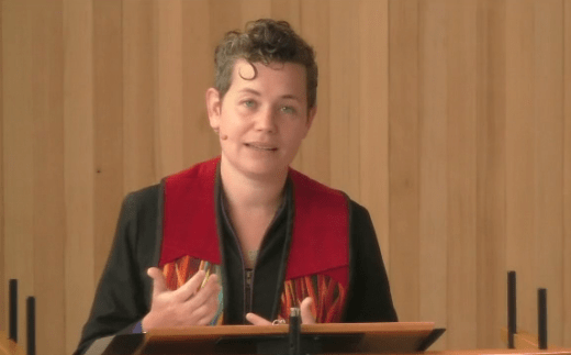 "Rev. Beth delivering sermon ""Do This in Memory of Me"" on August 9, 2020"