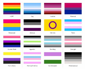 16 different Pride flags: LGBT, Gay, Lesbian, Bisexual, Pansexual, Asexual, Intersex, Trans, etc.