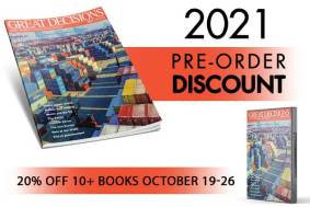 "Cover of the Great Decisions book and ""2021 pre-order discount of 20% through Oct 26"""