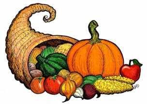 Cornucopia drawing with colorful pumpkin, apple, corn, onions, tomatoes, etc.