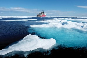 Ice floes surround the U.S. Coast Guard Cutter Healy in the Arctic Ocean