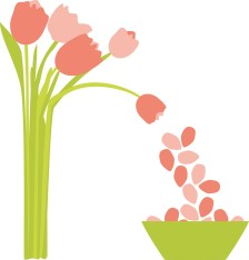 Clip art of a bunch of pink tulips leaning over and dropping petals into a bowl