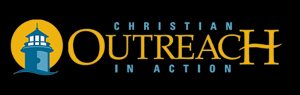 Christian Outreach in Action logo, with image of a lighthouse