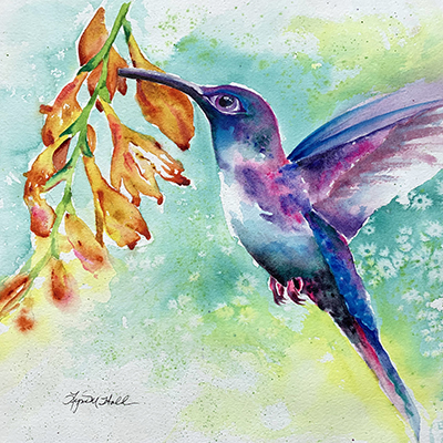 Watercolor of Hummingbird