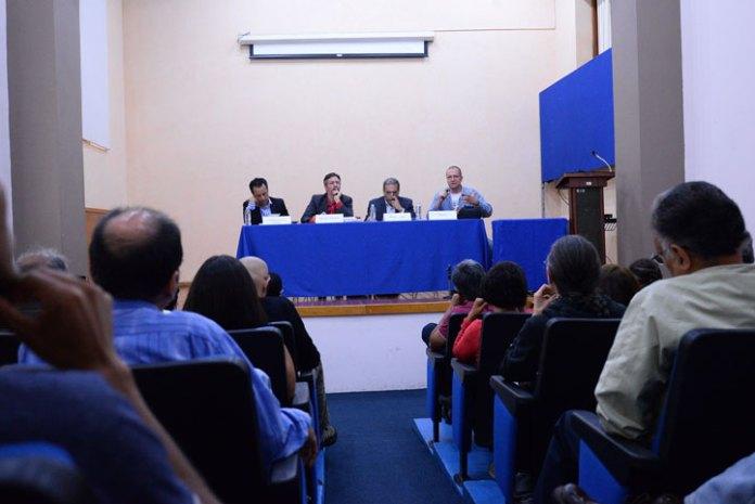 Cuitláhuac García, John Ackerman, Martín Aguilar y Patricio, en la presentación del libro