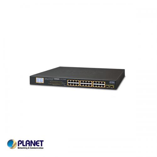 24-Port Gigabit 250M PoE + 2-Upload port Switch met LCD Monitor