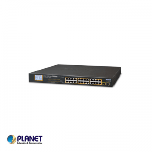 24-Port Gigabit 250M PoE + 2-Upload port Switch met LCD Monitor