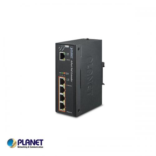 Planet IP30 Industrial 1-Port 60W Ultra POE to 4-Port 802.3af/at Gigabit POE Extender (-40 to 75 C)