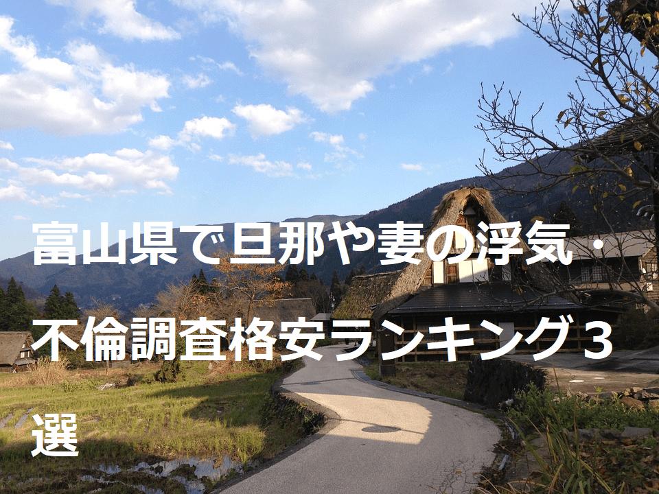 富山県で旦那や妻の浮気・不倫調査格安ランキング3選