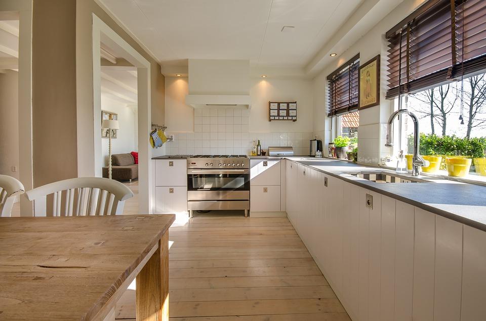 キッチン ホーム インテリア 近代的な ルーム 床 家具 カウンタ 木材 生活