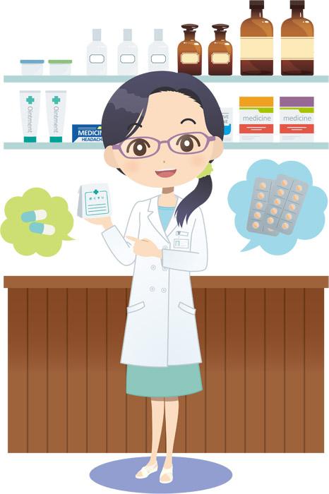 薬局で働く薬剤師の女性
