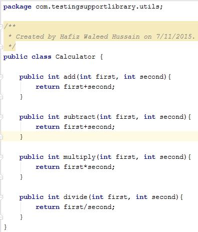 Calculator util class code.