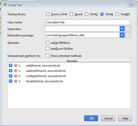 Unit test class creation dialog box.