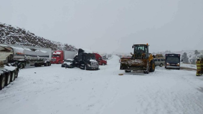 Severe snow weather causes pile-up on I80