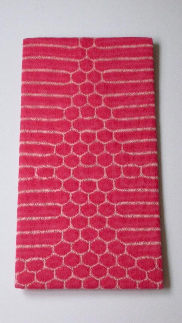 Transparenter Kid Mohair Schal in pink und weiß