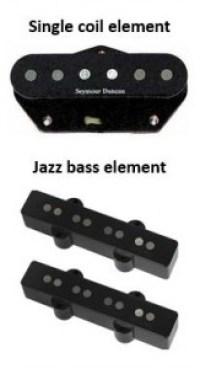 Single coil gitaar element en Jazz bass element