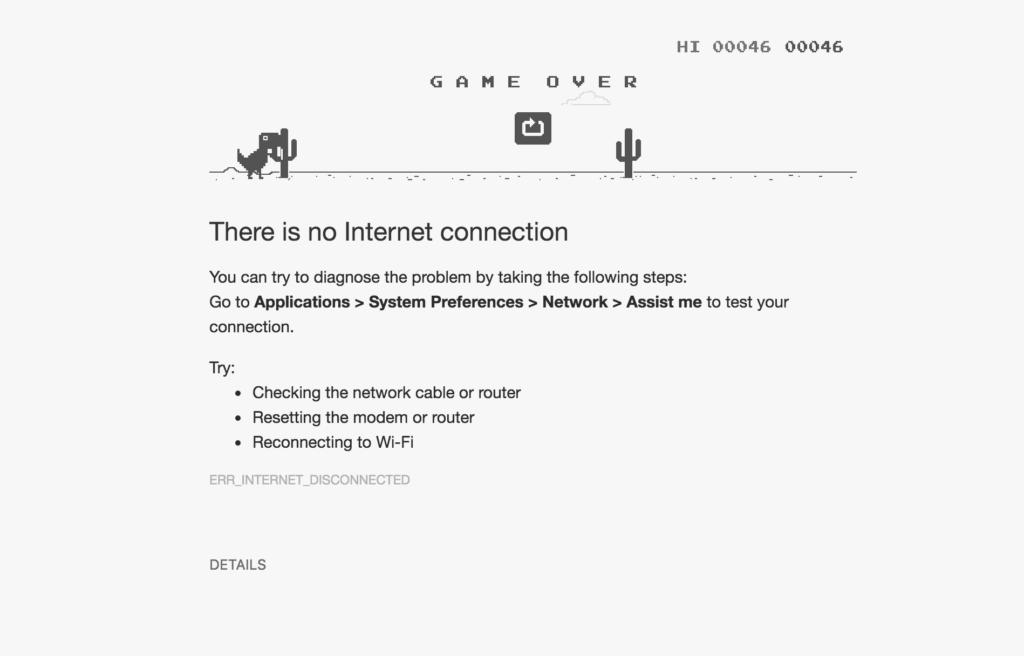 """Google a introduit un jeu vidéo sur la page """"Erreur 404, Internet non accessible"""". Pour l'activer, il faut appuyer sur la touche espace."""