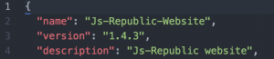 version property in package.json