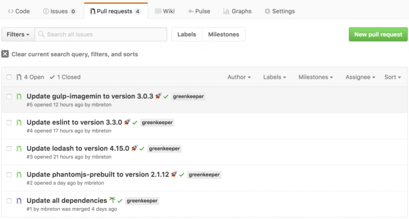 Greenkeeper bot's pull-requests