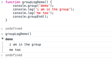 console.group