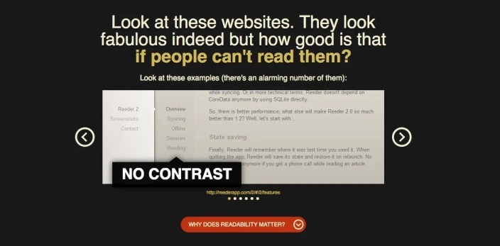 ux conversion centered design - contrast