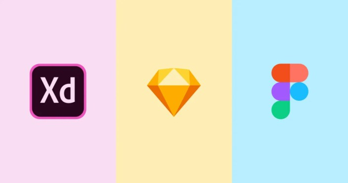 adobe xd, sketch, and figma logo