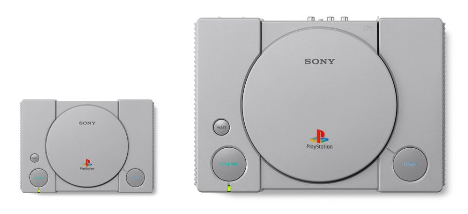 The Playstation Classic will be about 45% the size of its older brother. Image: Sony