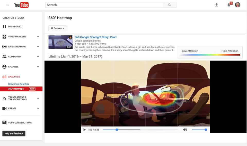 VR videos heatmap feature youtube