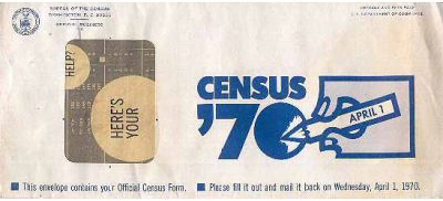 Empty envelope from the US Census in 1970