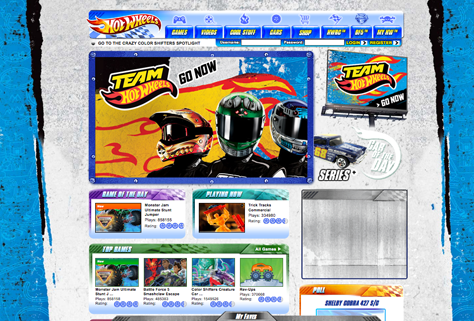 Typographic styling on Mattel's Hot Wheels Web site