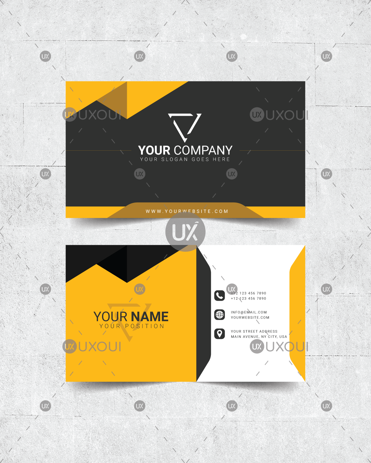 Black yellow white creative dark business card design template black yellow white creative dark business card design template vector reheart