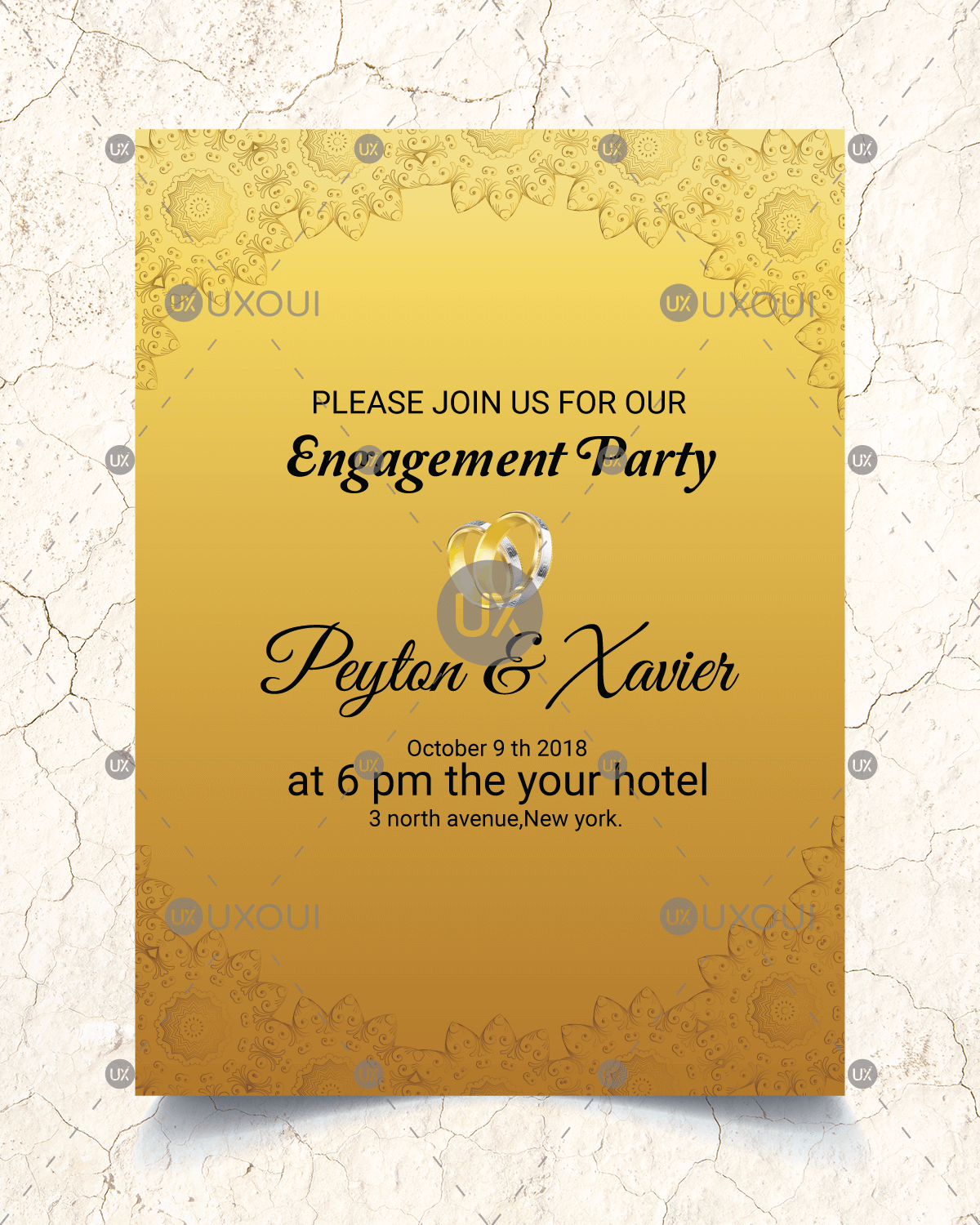 Golden wedding engagement party invitation card template design ...